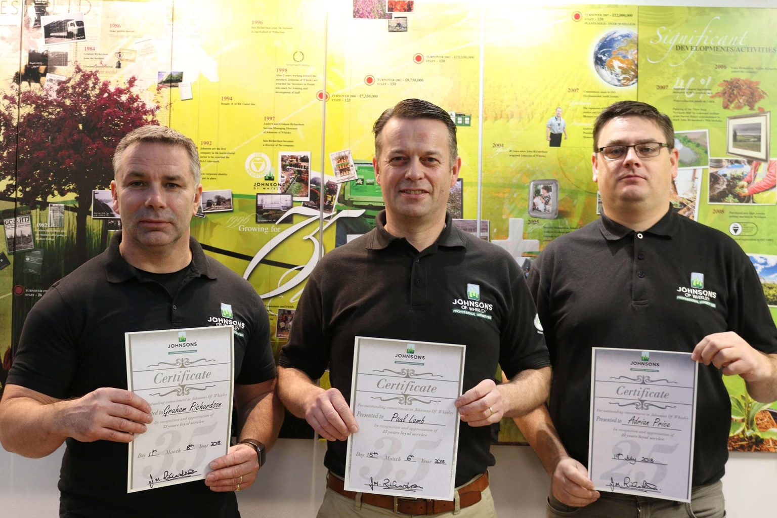 Four employees reach 105 years of service combined