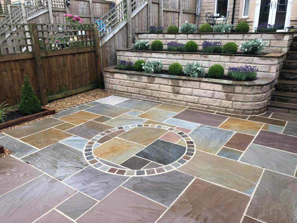 Beautifying a sloping garden with plants and hard landscaping in the Harrogate area